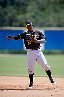 Pittsburgh Pirates second baseman Rodolfo Castro (32) throws to first base during a Florida Instructional League game against the Toronto Blue Jays on September 20, 2018 at the Englebert Complex in Dunedin, Florida.  (Mike Janes/Four Seam Images)