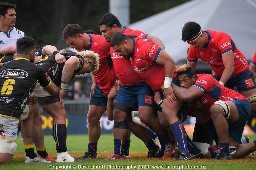 A scrum packs down during the Mitre 10 Cup rugby match between Wellington Lions and Tasman Makos at Jerry Collins Stadium in Wellington, New Zealand on Saturday, 31 October 2020. Photo: Dave Lintott / lintottphoto.co.nz