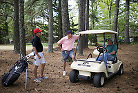 Taylor Bryant (from left) and Marc Bryant chat with co-owner Bobby Rountree, Monday, April 26, 2021 at the Prairie Creek golf course in Rogers. The Prairie Creek golf course is closing after 50 years of ownership in the Rountree family. Check out nwaonline.com/210427Daily/ for today's photo gallery. <br /> (NWA Democrat-Gazette/Charlie Kaijo)