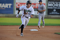 Clinton LumberKings Braden Bisop (1) runs to third base during the Midwest League game against the Beloit Snappers at Ashford University Field on June 11, 2016 in Clinton, Iowa.  The LumberKings won 7-6.  (Dennis Hubbard/Four Seam Images)