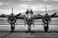 North American B-25 Mitchell medium bomber sits on the ramp.