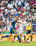 Gareth Bale of Real Madrid battles for the ball with Iago Aspas of RC Celta de Vigo during their La Liga match at the Santiago Bernabeu Stadium between Real Madrid and RC Celta de Vigo on 27 August 2016 in Madrid, Spain. Photo by Diego Gonzalez Souto / Power Sport Images