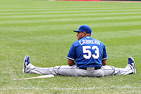 Kansas City Royals designated hitter Melky Cabrera #53 stretches before a game against the Chicago White Sox at U.S. Cellular Field on August 14, 2011 in Chicago, Illinois.  Chicago defeated Kansas City 6-2.  (Mike Janes/Four Seam Images)