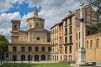 Espagne, Navarre, Pameplune, Eglise de San Lorenzo, c'est de cette église que part tous les 7 juillet, la procession de la Saint Firmin //  Saint Lorenzo church, on july  7 th, every year, a procession in honour San Fermin, starts from this church