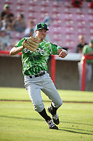 Brendon Little (34) of the Eugene Emeralds throws to first base after fielding a bunt during a game against the Salem-Keizer Volcanoes at Volcanoes Stadium on July 24, 2017 in Keizer, Oregon. Eugene defeated Salem-Keizer, 7-6. (Larry Goren/Four Seam Images)