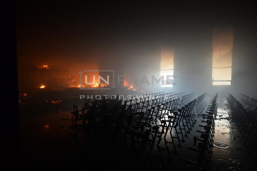 Trade union building facing Maidan square is burning.  Kiev, Ukraine