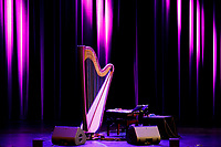 The stage is set before a laureate recital by harpist Remy van Kesteren during the 11th USA International Harp Competition at the Buskirk-Chumley Theater in Bloomington, Indiana on Saturday, July 6, 2019. (Photo by James Brosher)