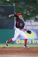 Batavia Muckdogs shortstop Micah Brown (55) warmup throw to first base during a game against the West Virginia Black Bears on June 26, 2017 at Dwyer Stadium in Batavia, New York.  Batavia defeated West Virginia 1-0 in ten innings.  (Mike Janes/Four Seam Images)