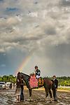 SARATOGA SPRINGS, NY- AUGUST 04: Irad Ortiz jr. celebrates winning the Whitney Stakes aboard Diversify at Saratoga Racecourse on August 4, 2018 in Saratoga Springs, New York.(Photo by Alex Evers/Eclipse Sportswire)