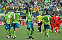 SEATTLE, WA - NOVEMBER 10: Seattle Sounders defender Kelvin Leerdam #18 reacts after scoring a goal during a game between Toronto FC and Seattle Sounders FC at CenturyLink Field on November 10, 2019 in Seattle, Washington.