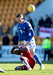 St Johnstone v Rangers…..23.02.20   McDiarmid Park   SPFL<br />Alfredo Morelos and Jammie McCart collide<br />Picture by Graeme Hart.<br />Copyright Perthshire Picture Agency<br />Tel: 01738 623350  Mobile: 07990 594431