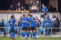 SAN JOSE, CA - MAY 01: San Jose Earthquakes players celebrate during a game between San Jose Earthquakes and D.C. United at PayPal Park on May 01, 2021 in San Jose, California.