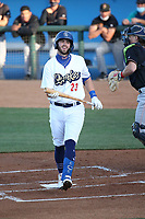 Brandon Lewis (23) of the Rancho Cucamonga Quakes bats against the Modesto Nuts at LoanMart Field on May 14, 2021 in Rancho Cucamonga, California. (Larry Goren/Four Seam Images)
