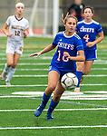WOODBURY, CT-111120JS08 —Nonnewaug's Samantha Conti (18) pushes the ball up field during their game against Wolcott Tech Wednesday at Nonnewaug High School. <br /> Jim Shannon Republican-American