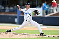 Asheville Tourists pitcher Riley Pint (27) delivers a pitch during a game against the Delmarva Shorebirds at McCormick Field on May 5, 2019 in Asheville, North Carolina. The Shorebirds defeated the Tourists 10-9. (Tony Farlow/Four Seam Images)