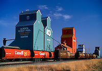 Grain elevators and loading train Nanton Alberta Canada