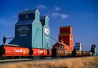Grain elevators and loading train Nanton Alberta Canada
