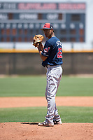 Cleveland Indians relief pitcher Luis Santos (26) prepares to deliver a pitch during an Extended Spring Training game against the Arizona Diamondbacks at the Cleveland Indians Training Complex on May 27, 2018 in Goodyear, Arizona. (Zachary Lucy/Four Seam Images)