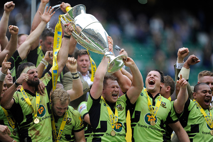 Northampton Saints celebrate after winning the Aviva Premiership Rugby Final against Saracens at Twickenham Stadium on Saturday 31st May 2014 (Photo by Rob Munro)