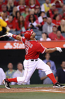 Albert Pujols #5 of the Los Angeles Angels bats against the Oakland Athletics at Angel Stadium on April 19, 2012 in Anaheim,California. Oakland defeated Los Angeles 4-2.(Larry Goren/Four Seam Images)
