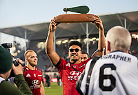 Leicester Faingaanuku with the trophy after the 2020 Super Rugby match between the Crusaders and Highlanders at Orangetheory Stadium in Christchurch, New Zealand on Saturday, 9 August 2020. Photo: Joe Johnson / lintottphoto.co.nz