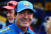 May 30, 2014; Englishtown, NJ, USA; NHRA funny car driver Ron Capps during qualifying for the Summernationals at Raceway Park. Mandatory Credit: Mark J. Rebilas-