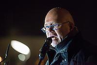 """Ca. 200 Menschen kamen am Montag den 9. Maerz 2015 zur 10. Baergida-Demonstration. Nach einer einstuendigen Kundgebung vor dem Berliner Hauptbahnhof mit islamfeindlichen Reden zog der rechte Aufmarsch zum nahgelegenen Kanzleramt. Dort hielt der islamfeindliche Redner Karl-Michael Merkle (im Bild) eine 40-minuetige Hassrede, bei der er unter anderem mehrere deutsche Politiker und Journalisten des Volksverrats bezichtigte und androhte nach einer Machtuebernahme diese Menschen """"in die Produktion"""" zu stecken.<br /> Merkle tritt in der Oeffentlichkeit als  Journalist unter dem Pseudonym Michael Mannheimer auf. <br /> Vom Amtsgericht Heilbronn erhielt Merkle bereits 2012 einen Strafbefehl wegen der Verbreitung von Schriften, die zu Gewalt- oder Willkuermassnahmen aufriefen.<br /> 9.3.2015, Berlin<br /> Copyright: Christian-Ditsch.de<br /> [Inhaltsveraendernde Manipulation des Fotos nur nach ausdruecklicher Genehmigung des Fotografen. Vereinbarungen ueber Abtretung von Persoenlichkeitsrechten/Model Release der abgebildeten Person/Personen liegen nicht vor. NO MODEL RELEASE! Nur fuer Redaktionelle Zwecke. Don't publish without copyright Christian-Ditsch.de, Veroeffentlichung nur mit Fotografennennung, sowie gegen Honorar, MwSt. und Beleg. Konto: I N G - D i B a, IBAN DE58500105175400192269, BIC INGDDEFFXXX, Kontakt: post@christian-ditsch.de<br /> Bei der Bearbeitung der Dateiinformationen darf die Urheberkennzeichnung in den EXIF- und  IPTC-Daten nicht entfernt werden, diese sind in digitalen Medien nach §95c UrhG rechtlich geschuetzt. Der Urhebervermerk wird gemaess §13 UrhG verlangt.]"""