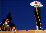 Japan, Tokyo: Shinto-priest at topping-out ceremony