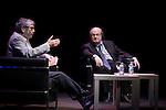 British novelist Salman Rushdie (L) and Antonio Munoz Molina during the `Circulo de Bellas Artes´ Golden Medal ceremony in Madrid, Spain. October 06, 2015. (ALTERPHOTOS/Victor Blanco)