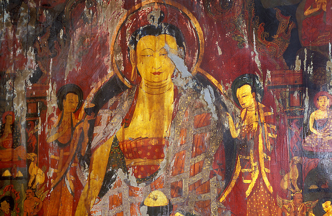 BUDDHA PAINTING inside the CHAPEL OF THE PREFECT (16th C.) at TSAPARANG, the lost city of the GUGE KINGDOM  - TIBET