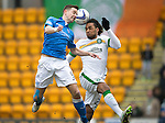 St Johnstone v Celtic.....14.02.15<br /> Steven MacLean and Jason Denayer<br /> Picture by Graeme Hart.<br /> Copyright Perthshire Picture Agency<br /> Tel: 01738 623350  Mobile: 07990 594431