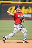 Third baseman Mat Gamel (17) of the Huntsville Stars makes a throw to first base during batting practice at the Baseball Grounds in Jacksonville, FL, Thursday June 12, 2008.