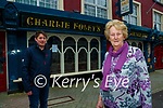 Eileen Foley and her son Colm outside  Charlie Foley's bar on Monday