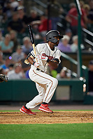 Rochester Red Wings Nick Gordon (1) at bat during an International League game against the Scranton/Wilkes-Barre RailRiders on June 24, 2019 at Frontier Field in Rochester, New York.  Rochester defeated Scranton 8-6.  (Mike Janes/Four Seam Images)