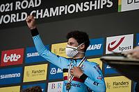 Alec Segaert (BEL) happy with bronze<br /> <br /> Junior Men Individual Time Trial from Knokke-Heist to Bruges (22.3 km)<br /> <br /> UCI Road World Championships - Flanders Belgium 2021<br /> <br /> ©kramon