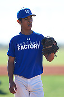 Saul Alva (45), from San Jose, California, while playing for the Dodgers during the Under Armour Baseball Factory Recruiting Classic at Red Mountain Baseball Complex on December 29, 2017 in Mesa, Arizona. (Zachary Lucy/Four Seam Images)
