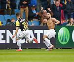 Nederland, Arnhem, 31 mei 2015<br /> Seizoen 2014-2015<br /> Play-offs voor voorronde Europa League<br /> Vitesse-SC Heerenveen (5-2)<br /> Zakaria Labyad van Vitesse heeft zijn shirt uitgetrokken nadat hij een doelpunt heeft gemaakt. Links Rochdi Achenteh van Vitesse