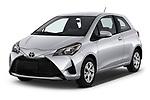 2018 Toyota Yaris L 3-Door Liftback 3 Door Hatchback angular front stock photos of front three quarter view