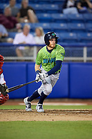 Lynchburg Hillcats center fielder Conner Capel (1) follows through on a swing during a game against the Salem Red Sox on May 10, 2018 at Haley Toyota Field in Salem, Virginia.  Lynchburg defeated Salem 11-5.  (Mike Janes/Four Seam Images)