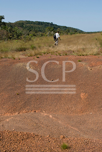 Pará State, Brazil. Abandoned landing strip dynamited by the Federal Police.