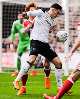 Derby County's forward Tom Lawrence (10) holds it up in front of Nottingham Forest's defender Jack Colback (18) during the Sky Bet Championship match between Nottingham Forest and Derby County at the City Ground, Nottingham, England on 10 March 2018. Photo by Stephen Buckley / PRiME Media Images.