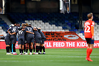 31st October 2020; Kenilworth Road, Luton, Bedfordshire, England; English Football League Championship Football, Luton Town versus Brentford; The Brentford team perform a team huddle before kick off
