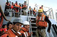 """- Italian Navy, the crew prepares for an operation of refueling in sea on """"Aliseo"""" frigate ....- Marina militare italiana, l'equipaggio si prepara per una operazione di rifornimento in mare a bordo della fregata """"Aliseo"""""""