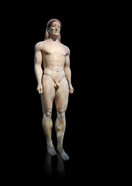Parian Mable Ancient Greek Archaic statue of a kouros, found in Anavyssos, Attica, circa 530 BC, Athens National Archaeological Museum. Cat no 3851.  Against black<br /> <br /> <br /> The body of the statue is powerful and articulate with empahasised muscles. This was a funerary statue from the grave of Kroisos, as indicated bt the inscription on its base reading, 'stop and mourn at the grave of Kroiusos, whom raging Ares destroyed when he fought among the defenders'.
