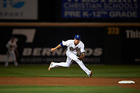 Rancho Cucamonga Quakes shortstop Gavin Lux (14) fields a ground ball during a California League game against the Lake Elsinore Storm at LoanMart Field on May 19, 2018 in Rancho Cucamonga, California. Lake Elsinore defeated Rancho Cucamonga 10-7. (Zachary Lucy/Four Seam Images)