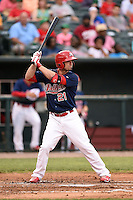 Memphis Redbirds outfielder Randal Grichuk (21) at bat during a game against the Oklahoma City RedHawks on May 23, 2014 at AutoZone Park in Memphis, Tennessee.  Oklahoma City defeated Memphis 12-10.  (Mike Janes/Four Seam Images)