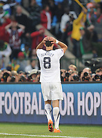 Clint Dempsey laments a near miss in the second half. The United States won Group C of the 2010 FIFA World Cup in dramatic fashion, 1-0, over Algeria in Pretoria's Loftus Versfeld Stadium, Wednesday, June 23rd..