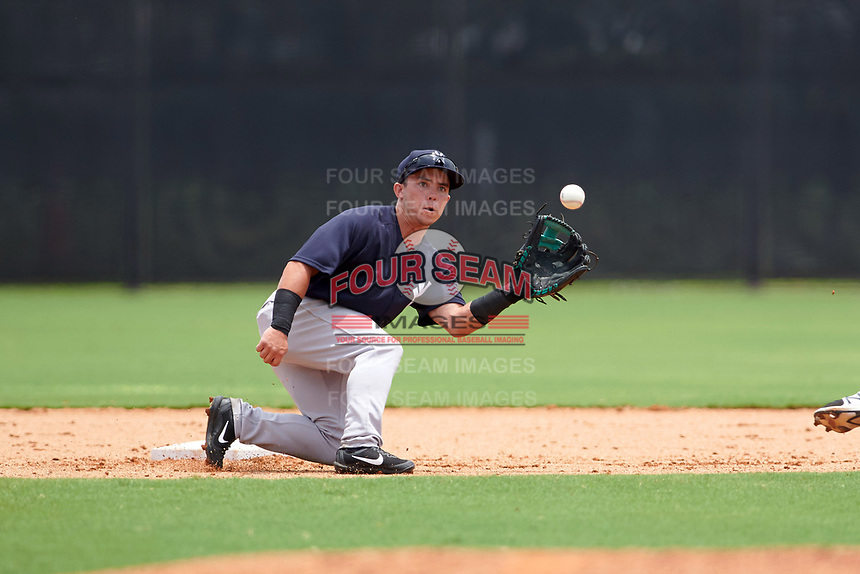GCL Yankees East second baseman Jose Carrera (2) waits for a throw from the catcher on a stolen base attempt during the second game of a doubleheader against the GCL Yankees West on July 19, 2017 at the Yankees Minor League Complex in Tampa, Florida.  GCL Yankees West defeated the GCL Yankees East 3-1.  (Mike Janes/Four Seam Images)