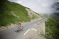 Cofidis rider coming down over the top of the Col du Tourmalet (HC/2115m/17.1km/7.3%)<br /> <br /> 2014 Tour de France<br /> stage 18: Pau - Hautacam (145km)