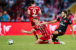 AC Milan Midfielder Hakan Calhanoglu (R) trips up with Bayern Munich Forward Thomas Muller (L) during the 2017 International Champions Cup China  match between FC Bayern and AC Milan at Universiade Sports Centre Stadium on July 22, 2017 in Shenzhen, China. Photo by Marcio Rodrigo Machado / Power Sport Images
